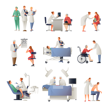 Doctor and patient set of flat icons including dentist, ophthalmologist, therapist, pediatrician, surgeon isolated vector illustration