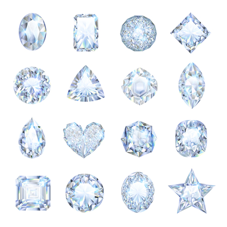 Realistic gemstones icons set with different shape isolated vector illustration Ilustrace