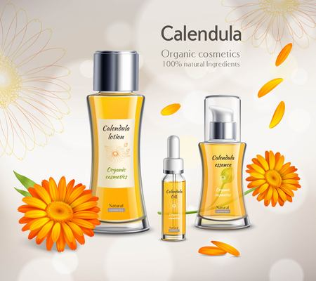 Organic cosmetics skincare products realistic advertisement poster with calendula extract essence lotion and oil background vector illustration