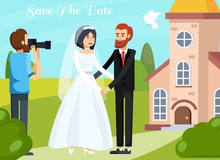 着色された平らな結婚式の人々と愛のカップルとカメラマンとの直交コンポジション日付の説明のベクトルイラストを保存