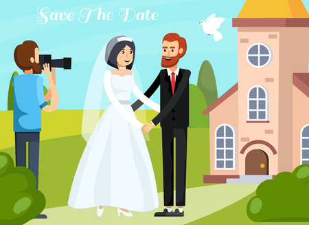 Colored flat wedding people orthogonal composition with love couple and photographer with save the date description vector illustration