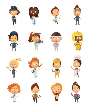 People professions cute cartoon icons set for kids with policeman astronaut doctor cameraman artist chef flat isolated vector illustration