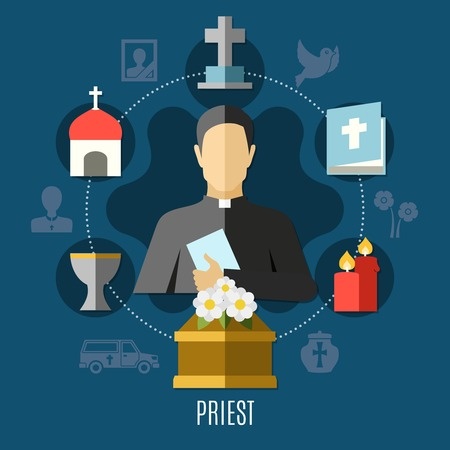 Priest concept set with funeral church and cemetery flat vector illustration