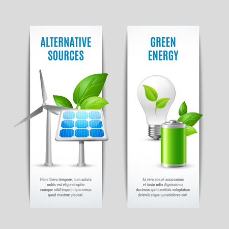Alternative sources and green energy vertical paper banners with solar panels wind turbines eco bulb with plant signs realistic vector illustration Illustration