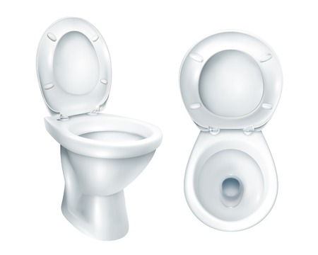 Realistic toilet top view and general mockup with raised plastic seat on white background isolated vector illustration  イラスト・ベクター素材