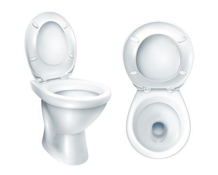 Realistische toilet hoogste mening en algemeen model met opgeheven plastic zetel op witte achtergrond geïsoleerde vectorillustratie Stock Illustratie