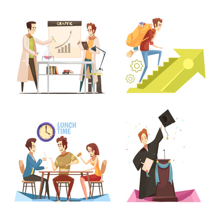 Students retro cartoon design concept  with chemical experiment, acquisition of knowledge, lunch time, graduate isolated vector illustration