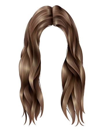 Trendy female dark long hairs with parted in middle, wavy strands on white background isolated vector illustration Illustration
