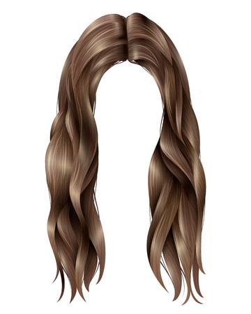 Trendy vrouwelijke donkere lange haren met gescheiden in midden, golvende bundels op witte achtergrond geïsoleerde vectorillustratie