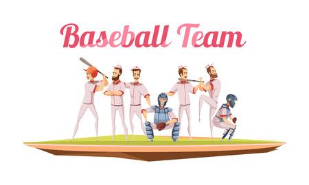 Baseball team retro composition with athletes in uniform and helmets holding baseball bats flat cartoon vector illustration