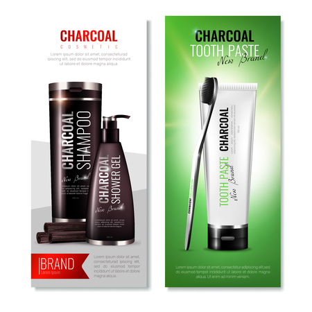 Charcoal cosmetic vertical banners set with branded shower gel and shampoo packages tooth brush and toothpaste vector illustration