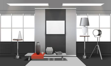 天井上の窓、テーブルの上に赤い布、壁のベクトルイラスト上の写真フレームとの現実的なロフトインテリア  イラスト・ベクター素材