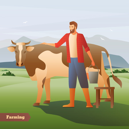 Smiling farmer with bucket near spotted cow on green pasture on mountain background flat composition vector illustration