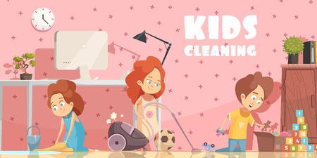 Petits enfants nettoyage affiche de dessin animé rétro salon avec balayage de plancher ordening jouets et aspirateur illustration vectorielle Banque d'images - 85415639