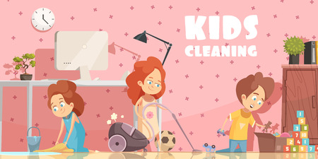 Little children cleaning living room retro cartoon poster with sweeping floor ordening toys and vacuuming vector illustration Illustration