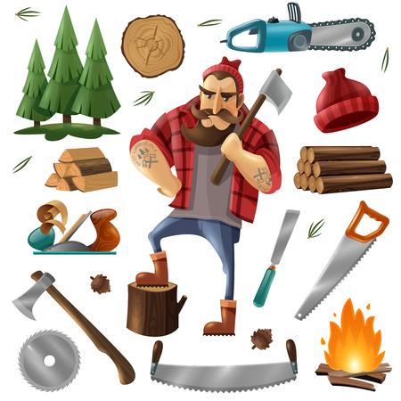 森林伐採と木こりのアイコンは、伐採ベクトルイラストのためのツールや機器で設定