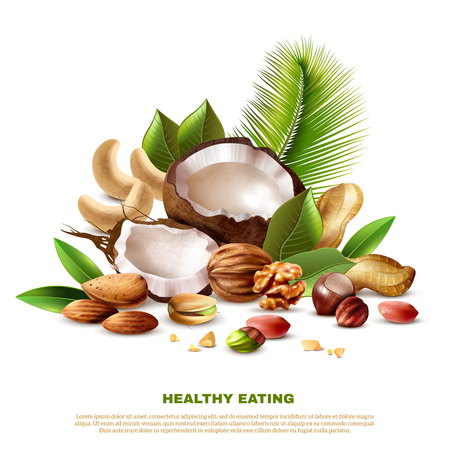 Realistic coconut cashew peanut walnut almond pistachio hazelnut and tree leaves on white background vector illustration