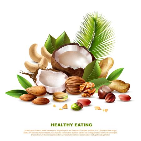 Realistic coconut cashew peanut walnut almond pistachio hazelnut and tree leaves on white background vector illustration