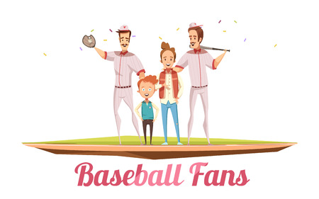 Baseball fans male design concept with two adults men and two boys on baseball field with sport equipment flat cartoon vector illustration Illustration