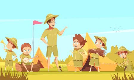 캠핑 복고풍 만화 포스터 벡터 일러스트 레이 션에서 스카우트 소년 멘토 가이드 야외 모험과 생존 활동 일러스트