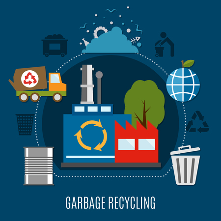 Garbage recycling plant composition with waste deposit metal drum trash bin sanitation car and refuse collection pictograms vector illustration 版權商用圖片 - 85415650