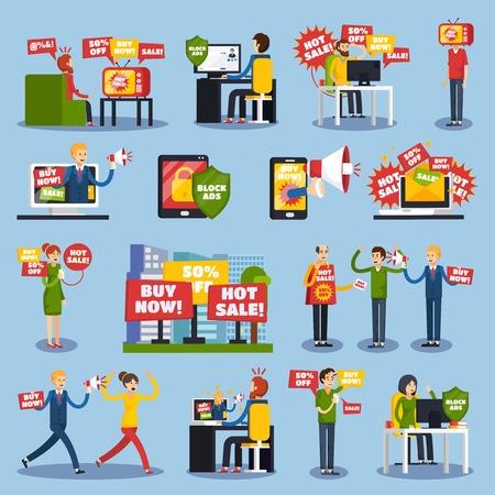 Colored flat annoying intrusive advertisement orthogonal icon set with hot sale buy now descriptions vector illustration Illusztráció