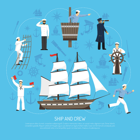 Old-fashioned multi masted sailing ship icons composition poster with sailor at helm wheel blue background vector illustration Vettoriali