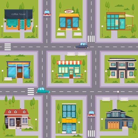 Suburb streets regular rectangular square seamless map pattern with cafe bistro restaurants house blocks flat vector illustration Ilustracja