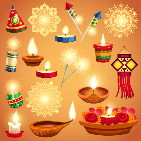 Realistic set of candles fireworks and decorations for diwali holiday isolated vector illustration