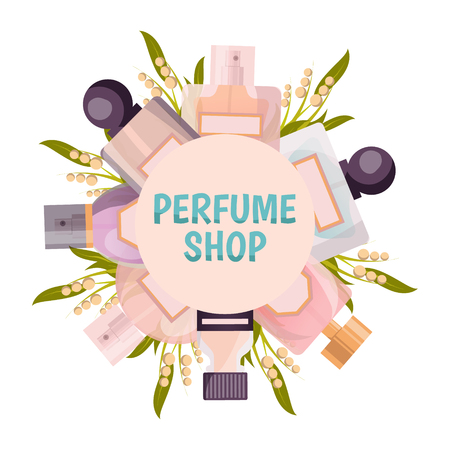 Perfume shop round frame background in pastel tones with flacons and lily of valley vector illustration