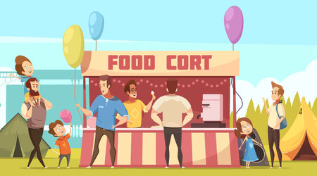 Open air festival camping area retro cartoon banner with food court tents and fathers with kids vector illustration Vettoriali