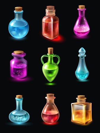 Set flessen van verschillende vorm en kleur met potion op zwarte achtergrond geïsoleerde vector illustratie