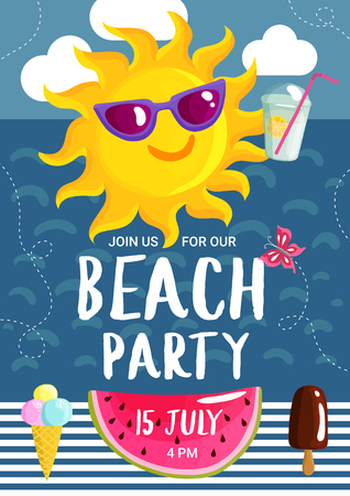 Beach party poster with summer sun in sunglasses with cocktail in sky on sea background vector illustration