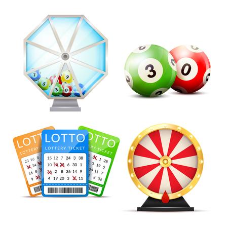 Loterij die met geïsoleerde beelden van van de de onderdompelingsloterij van aantalballen de gelukkige machine en playslip kaartjes vectorillustratie wordt geplaatst Stock Illustratie