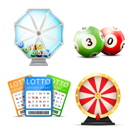 Lottery set with isolated images of number balls lucky dip lottery machine and playslip tickets vector illustration Ilustrace