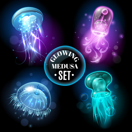 Transparent glowing pink purple blue and turquoise  medusa blubber jellyfish set decorative black background poster vector illustration Ilustração