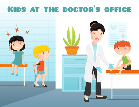 Kids at doctors office cartoon vector illustration with pediatrician and crying sick boy and girl flat vector illustration