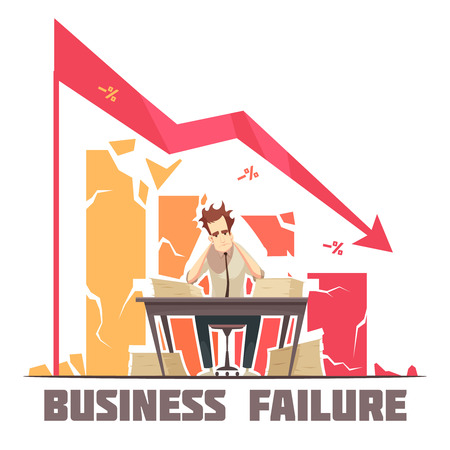 Business failure retro cartoon poster with frustrated businessman sitting in office under descending diagram arrow vector illustration Illustration