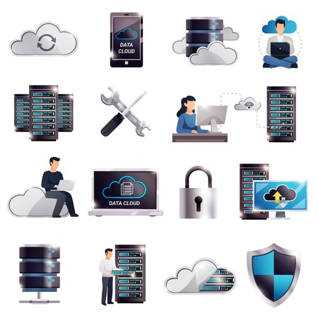Colored datacenter hosting server cloud icon set with technology and digital elements vector illustration