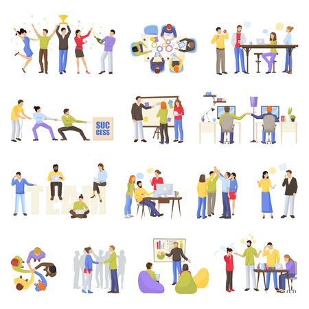 De pictogrammen van de groepswerkvergadering met de vlakke geïsoleerde vectorillustratie die van bureaumensen worden geplaatst