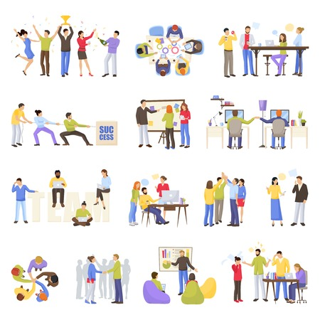 time specification: Teamwork meeting icons set with office people flat isolated vector illustration