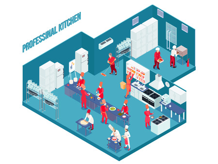 Professional kitchen in blue color with white grey furniture, equipment, utensils, staff in uniform isometric vector illustration Vectores