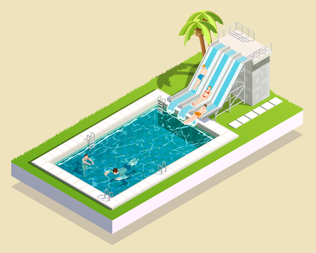Water park friends isometric composition of outdoor aquapark waterslide running into swimming bath inflated with water vector illustration