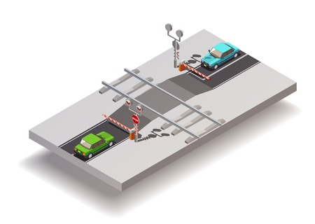 Road elements isometric composition with railway grade crossing with automatic gates put down and two cars vector illustration