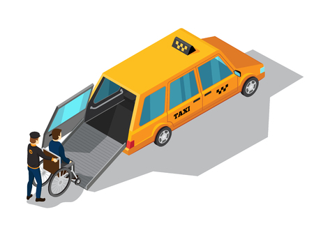 Taxi service isometric design concept with yellow taxi car designed for transportation of persons with disabilities vector illustration