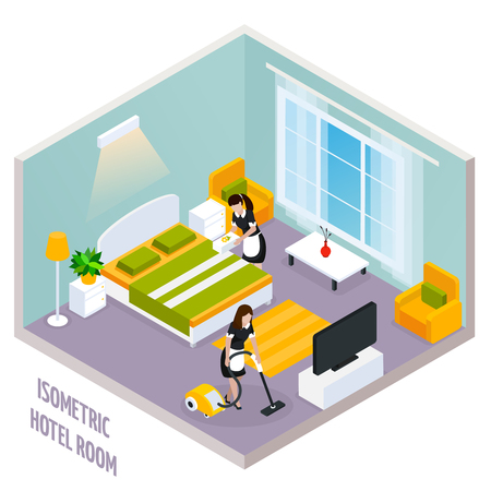 Colored isometric hotel room interior with walls and also there is a cleaning of the room vector illustration Illustration