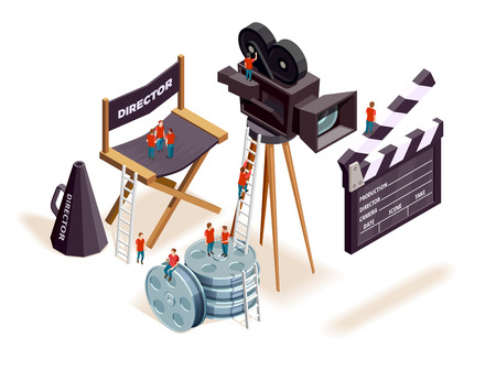 Isometric cinema composition with the little people climbing on motion picture filming equipment and directors seat vector illustration 일러스트