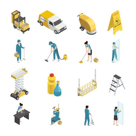 プロフェッショナルは、制服姿でスタッフと等尺性のアイコンを洗浄、洗剤と機械装置輸送を含む分離ベクトル図