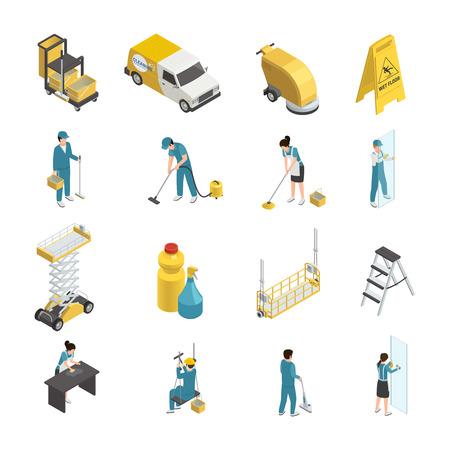 Professional cleaning isometric icons with staff in uniform, detergents and machine equipment including transport  isolated vector illustration Stock fotó - 85479739