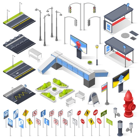 Set of city street isometric elements for construction of urban landscapes with lights bench road sections with markings traffic signposts isolated vector illustration